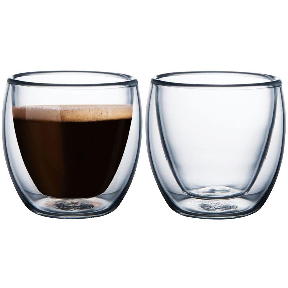 Jogo De Xicaras De Cafe Double Glass 2 Pecas Tramontina Camicado Conjunto De Xicaras Tipos De Vidro Cafe