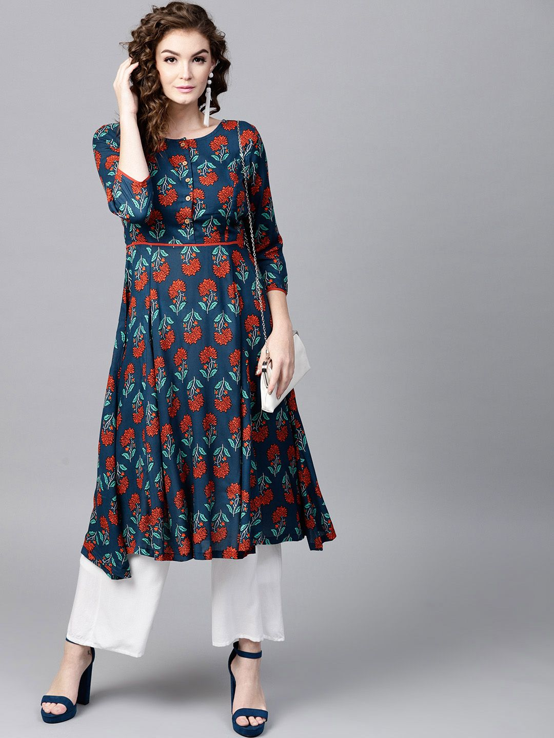 8d723317744 SASSAFRAS Teal Blue Printed Flared Kurta #TealBlue #Printed #Flared #Kurta