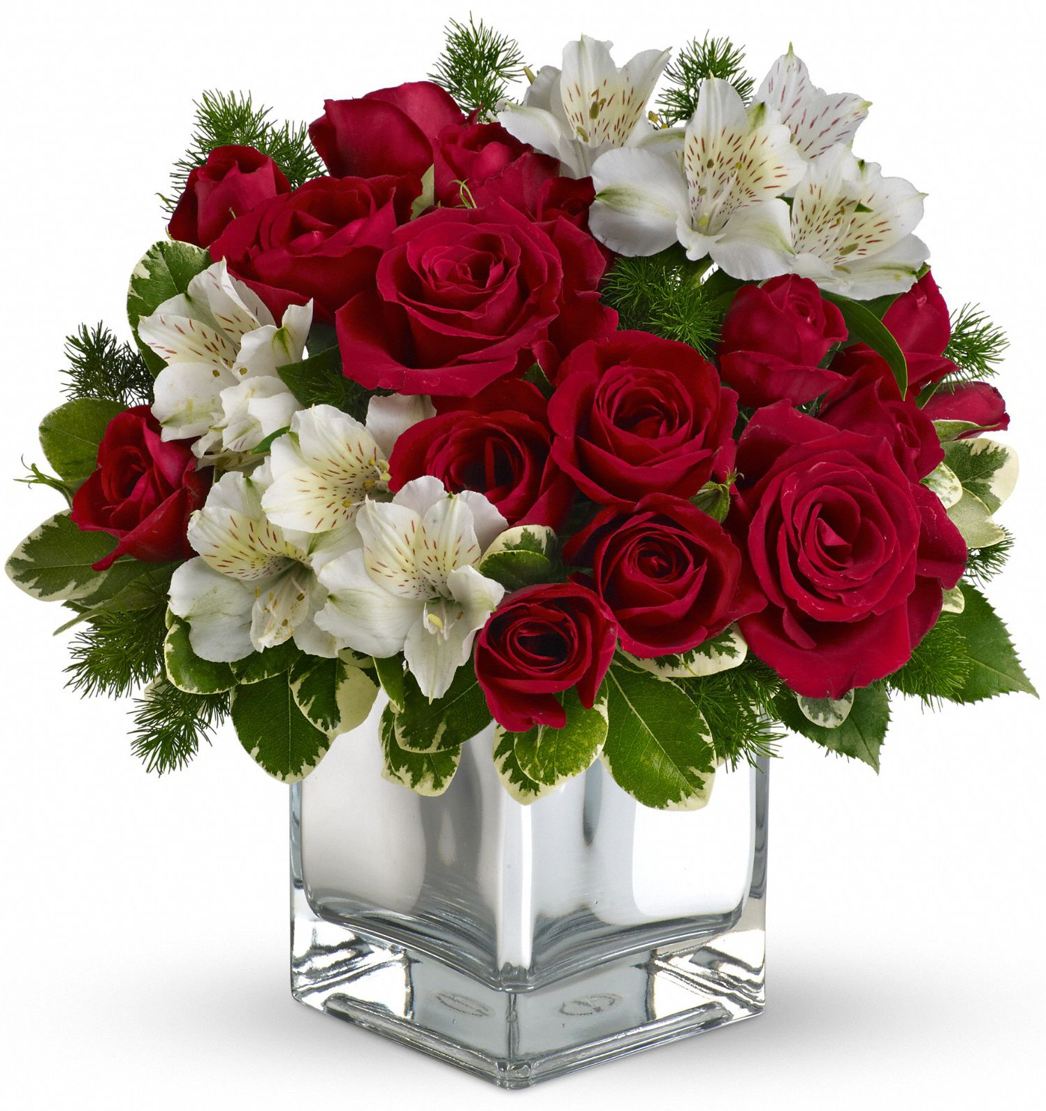 The Stylish Christmas Flower Arrangement Includes Red