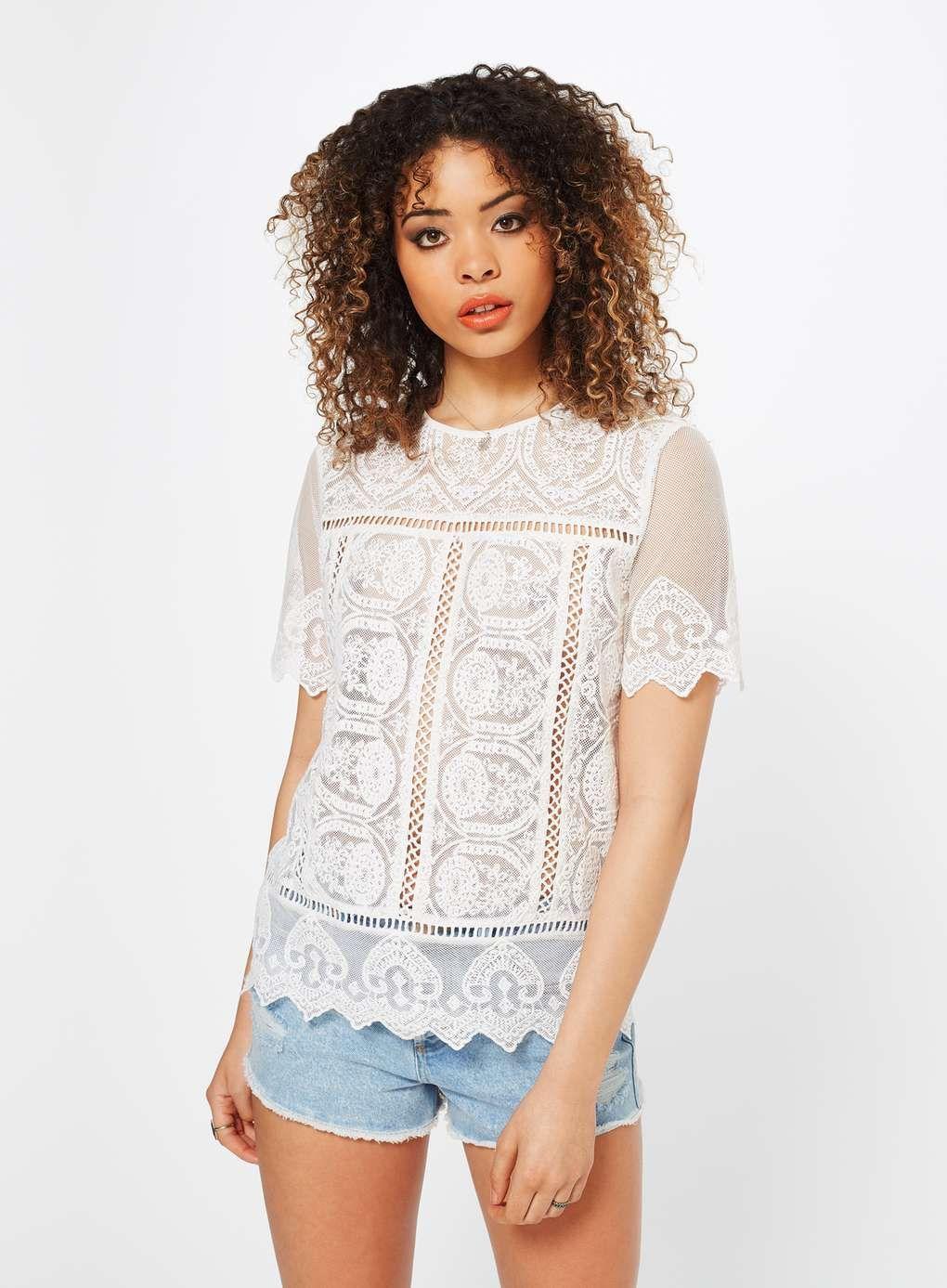 6aa567355f White Lace Scallop Tee - Tops - Clothing - Miss Selfridge Europe