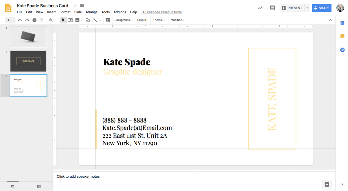 Kate Spade Business Card Template For Google Docs - Stand for