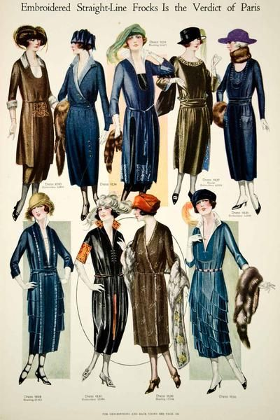 b2ae9d39fc5 This is an original 1920 color print of early 1920's fashions for women.  Note the dropped waists, elongated lines, and turban hats that were typical  of ...