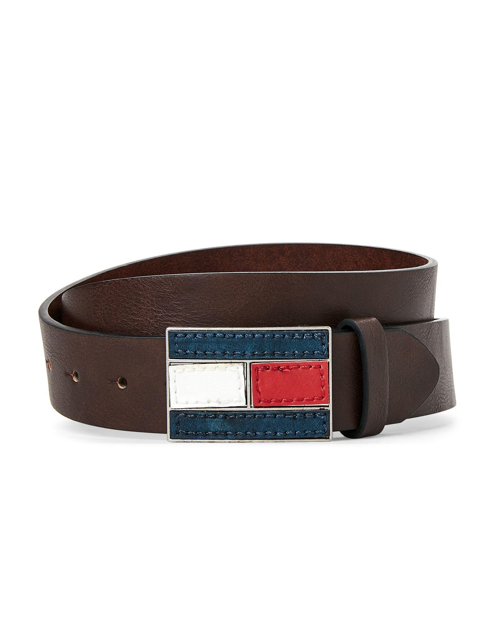 5c6a1a818049 Tommy Hilfiger Brown Logo Flag Plaque Belt