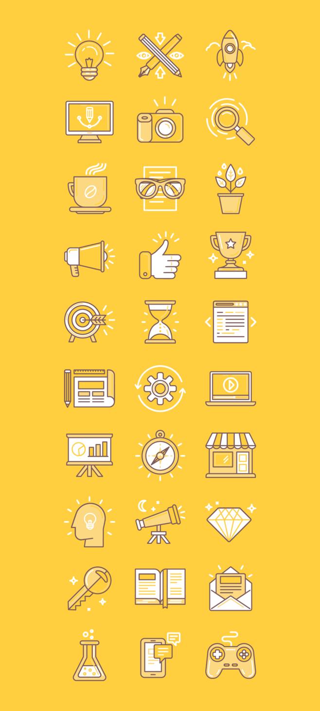 Bright Yellow Line Style Icon Desain Grafis Inspirasi Desain Grafis Bidang Warna