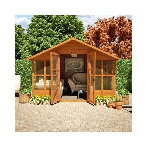 Garden summer house hot tub spa wooden office shed cabin for Wooden studios for gardens