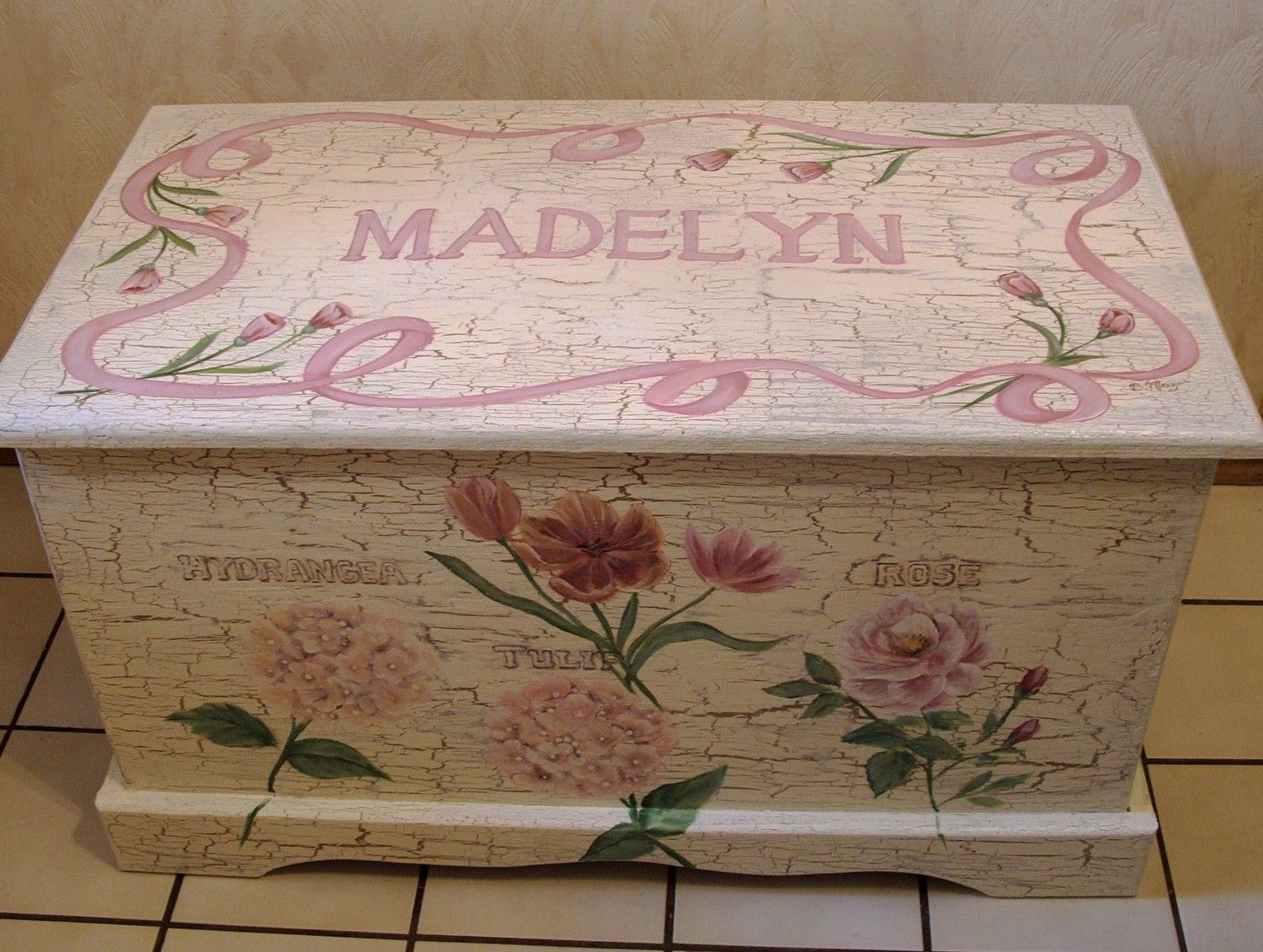 Custom Designed SHABBY CHIC Toy Chest, Chest done with Monogram or ...