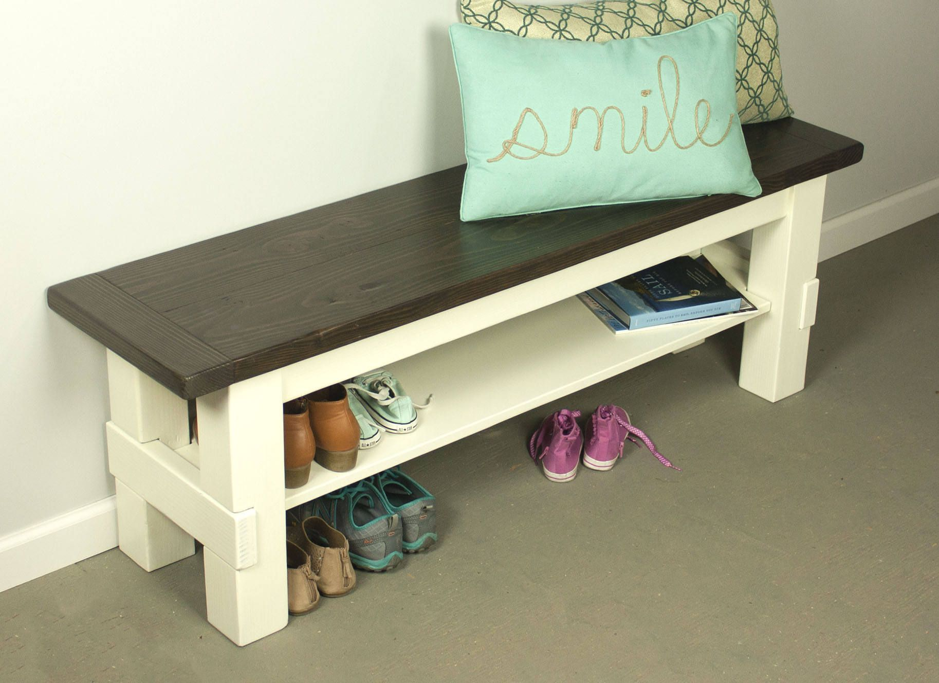 Two Tone Storage Bench, Farmhouse Bench With Shelf, Solid Wood Bench By  Blissopia On