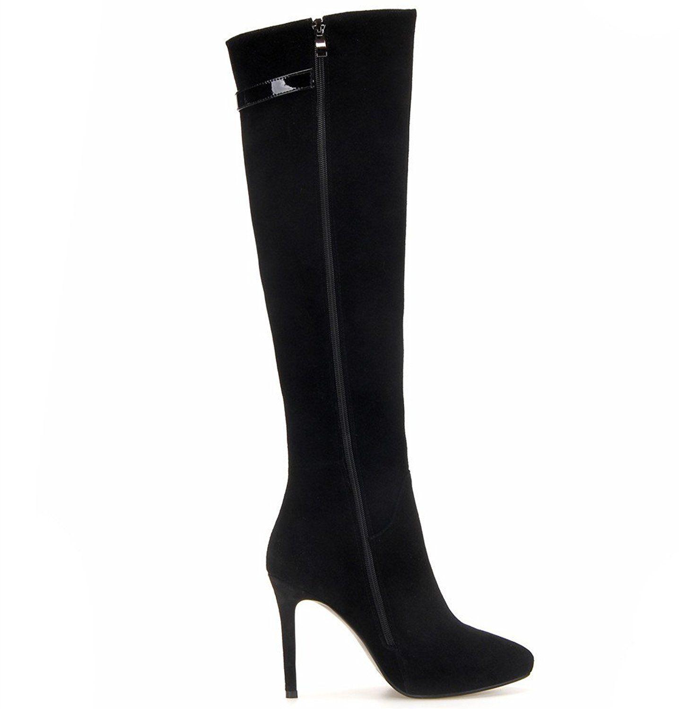734c2186f8a Nine Seven Suede Leather Women's Pointy Toe Stiletto Heel Zipper ...