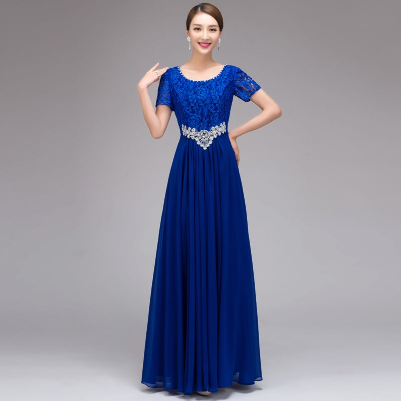 05919ba653bc9 2017 Summer Autumn formal dress red long O neck navy blue lace ...