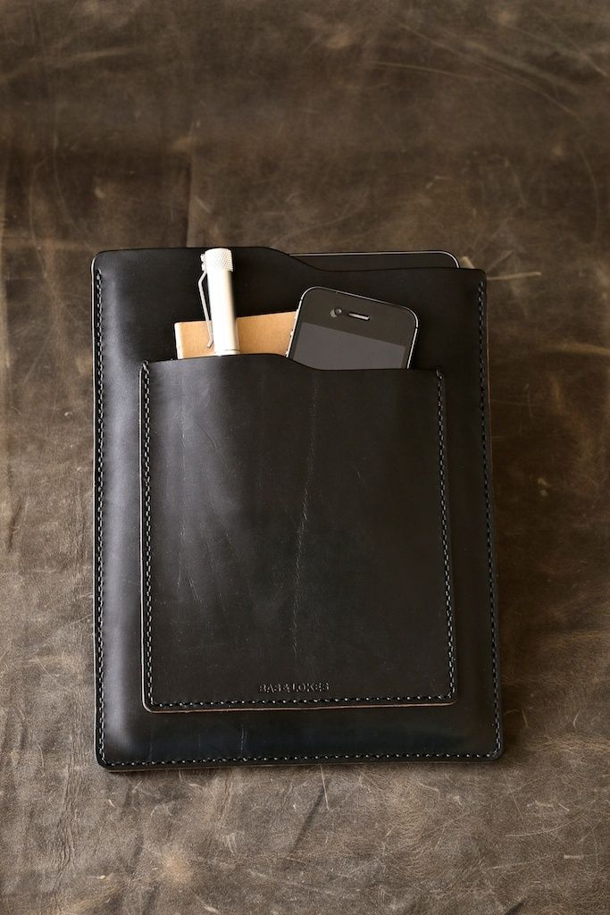 "Bas and Lokes Handmade Leather Goods - ""Windsor"" Black Handmade Leather iPad Air Sleeve, $165.00 (http://www.basandlokes.com/windsor-black-handmade-leather-ipad-air-sleeve/)"