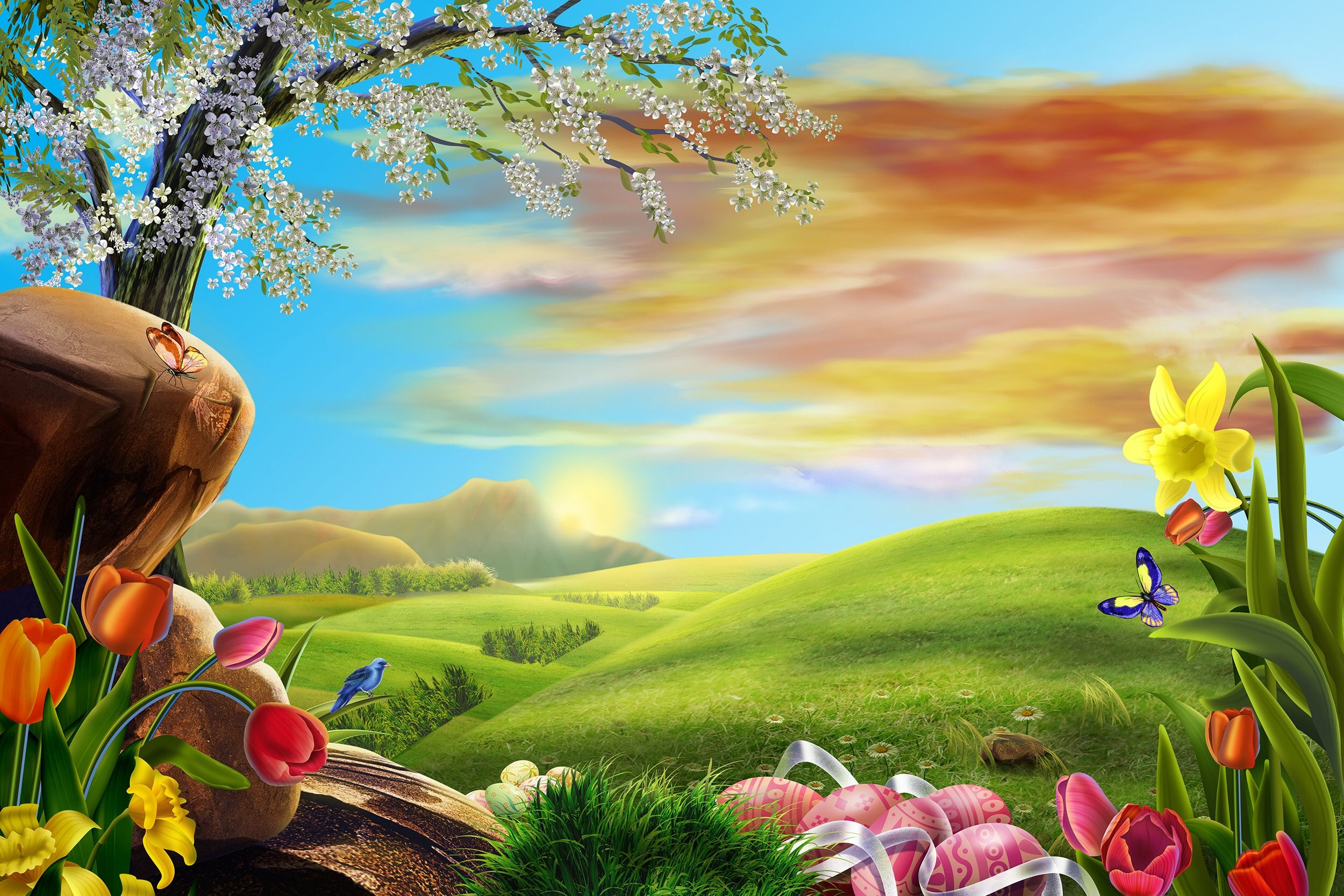 Happy Easter Backdrop Easter Egg Spring Scene Background For Photography Studio Flower Some Bunny Photo Background Video Vinyl In 2020 3d Nature Wallpaper Hd Nature Wallpapers Nature Desktop Wallpaper