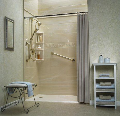 stepless shower replaces bathtub for a senior s bathroom i may need rh pinterest com