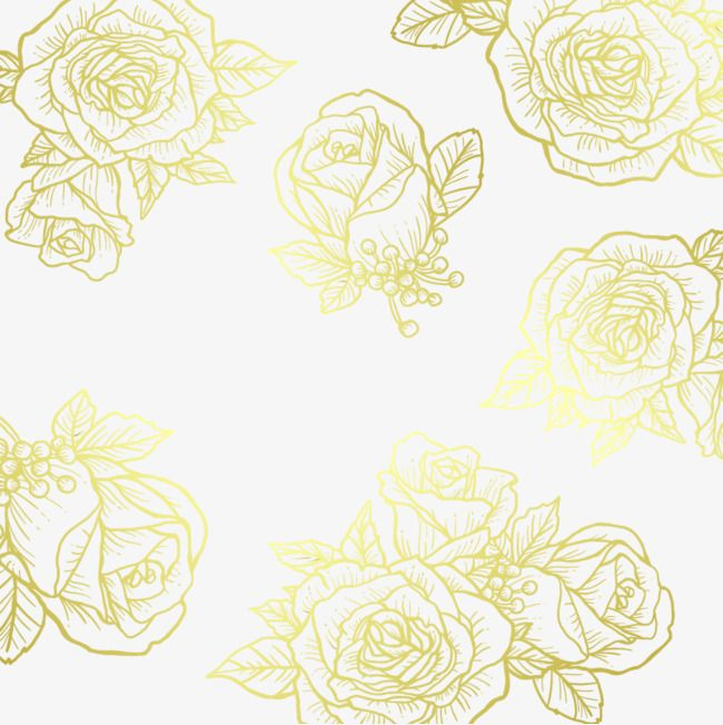 Vector Golden Flower PNG And