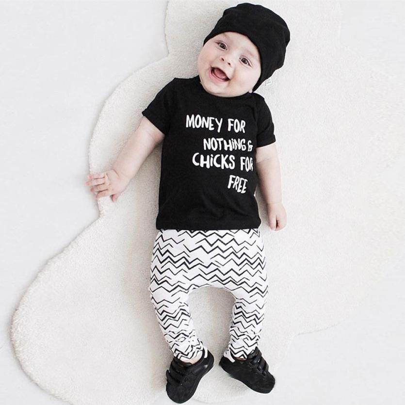 221f68376 Baby Boys Clothes Summer 2017 Children Clothing Sets Black T-shirt Letter  Printed Ripple Long Pants Clothes Boys Tracksuit