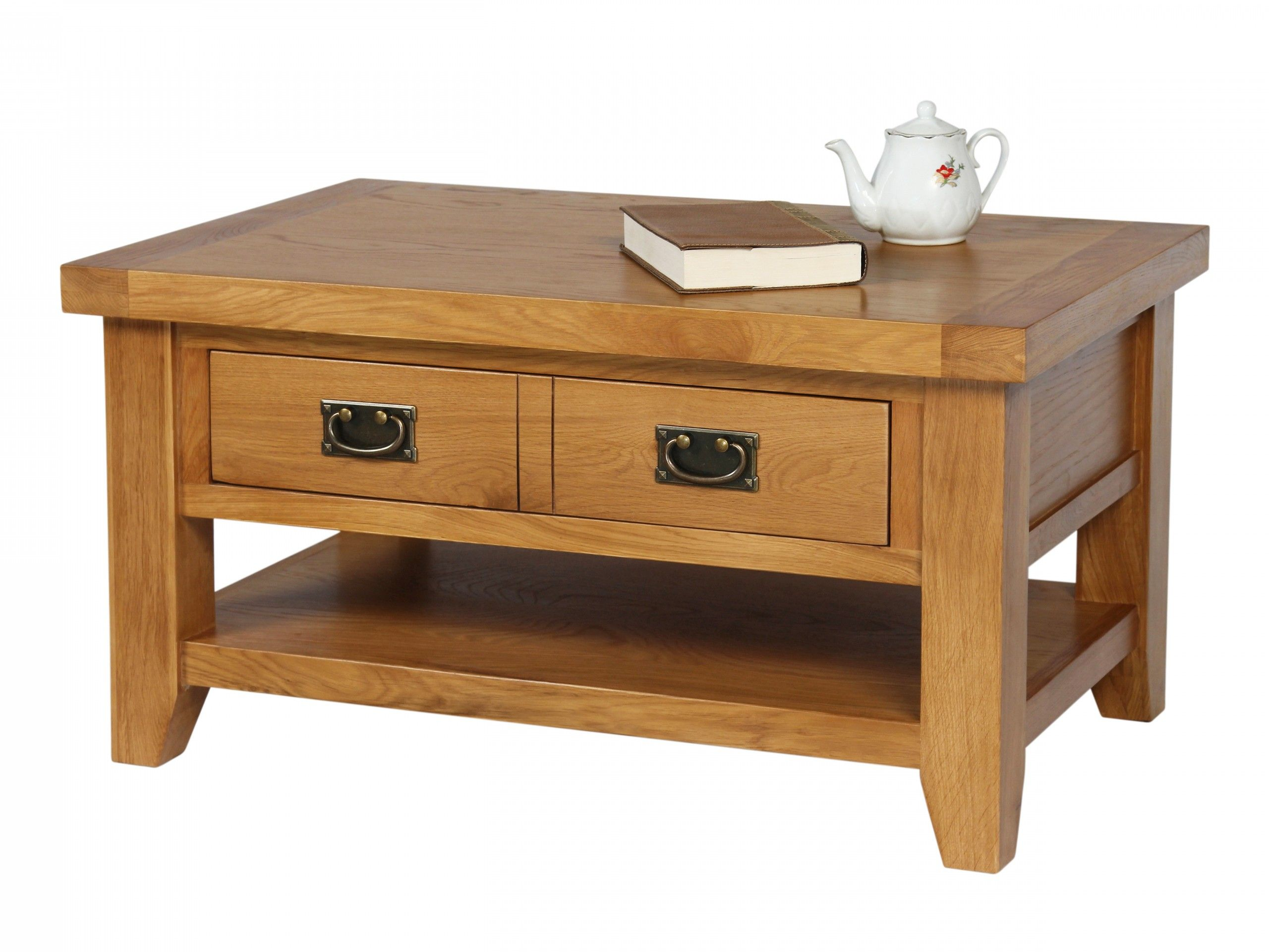 Country Oak Coffee Table With Drawer Shelf