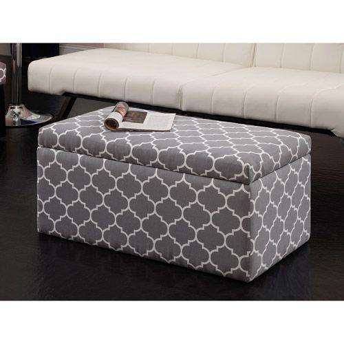 Emily Rectangular Storage Ottoman Gray Trellis Furniture