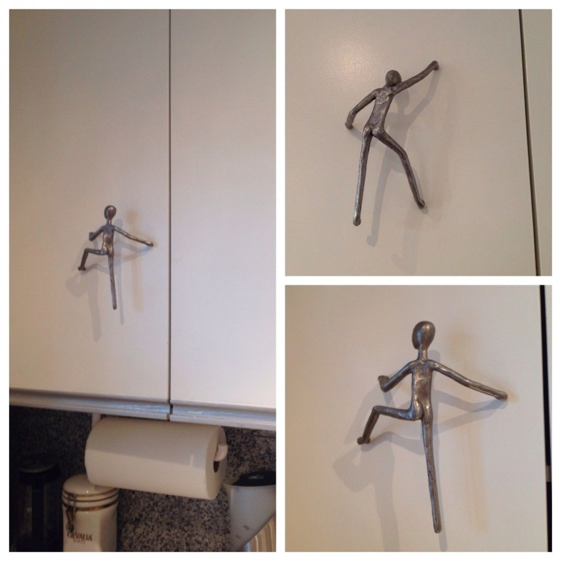 Unique silver steel human shape for cool cabinet hardware on white door chic and cool cabinet hardware in your lovely kitchen interior kitchen