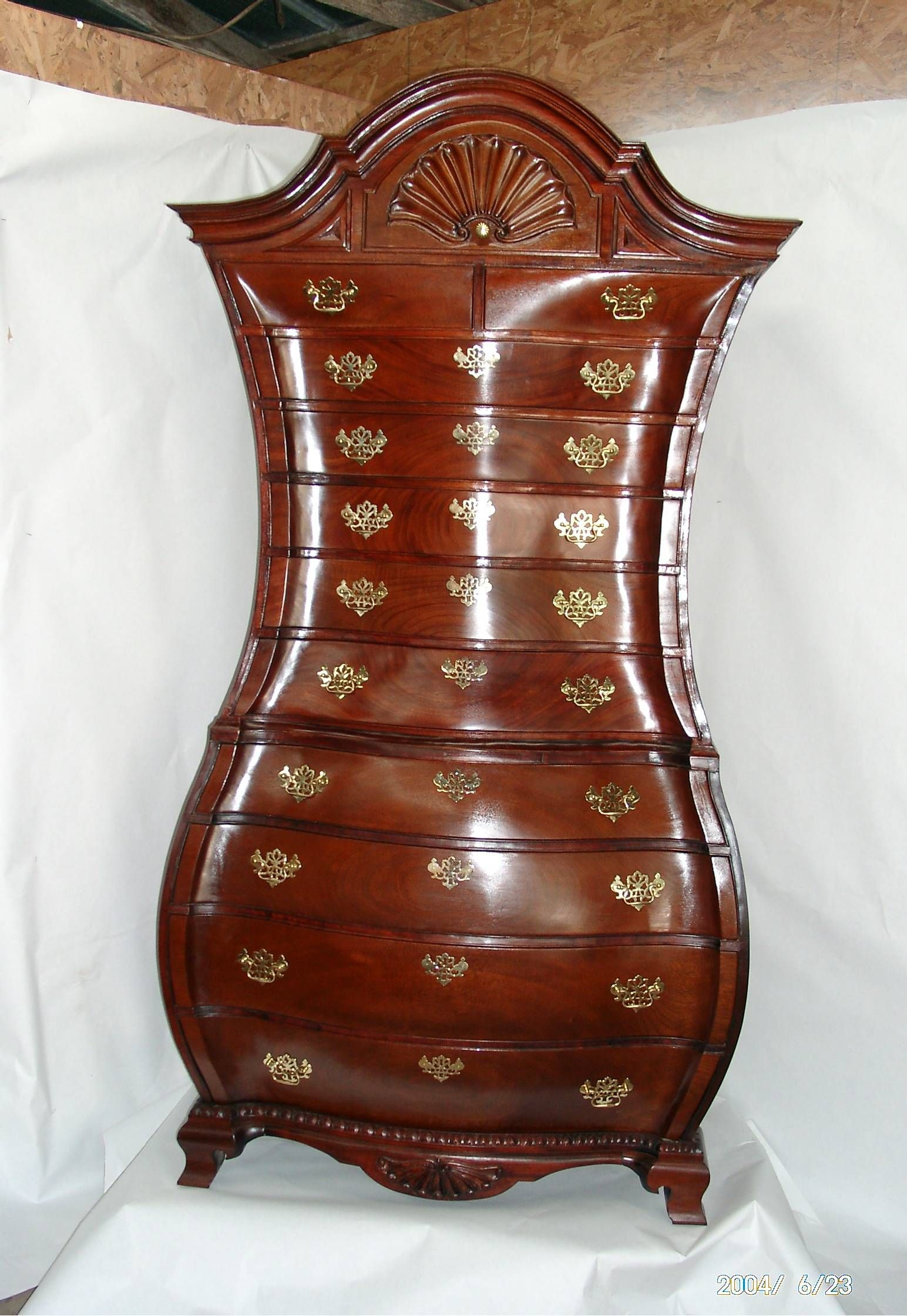 Queen Anne Bedroom Furniture This Bombe Chest Is Decorated With The Shell Motif Typical Of