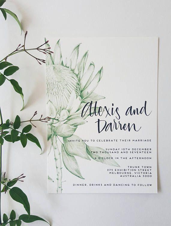 PROTEA Invitation/HANDDRAWN/Wedding Invites/GREEN