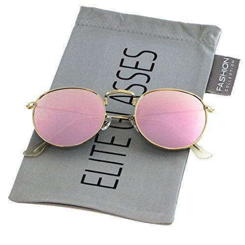 32e7b41d44 Elite Glasses Small Round Vintage Retro Mirror Lenses Classic Sunglasses  for Men and Women