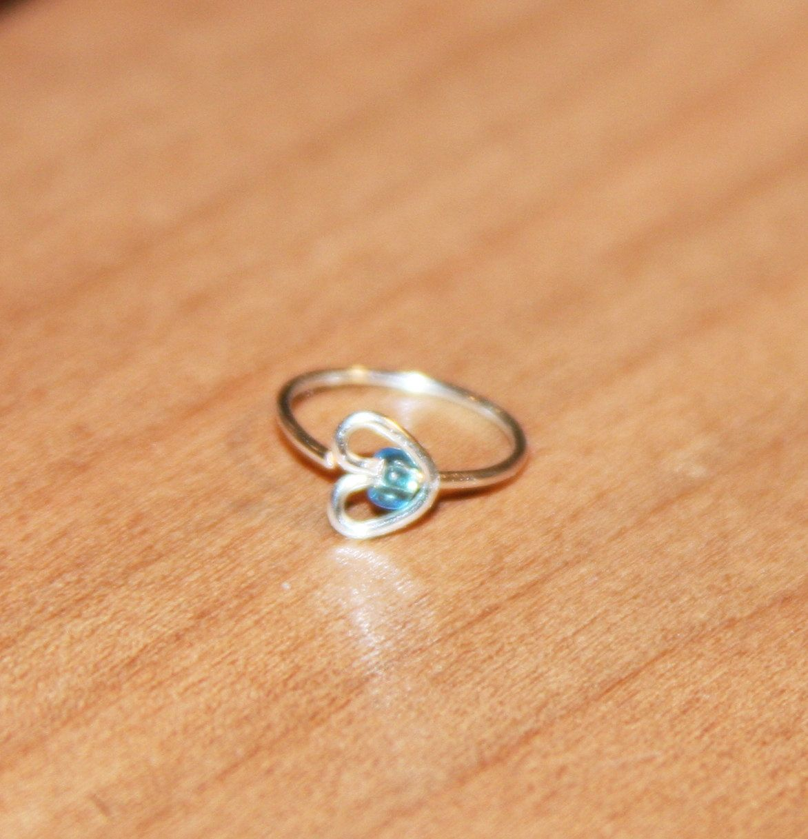 Small Heart Nose Ring Blue Beaded Heart Tragus Hoop Earring 20