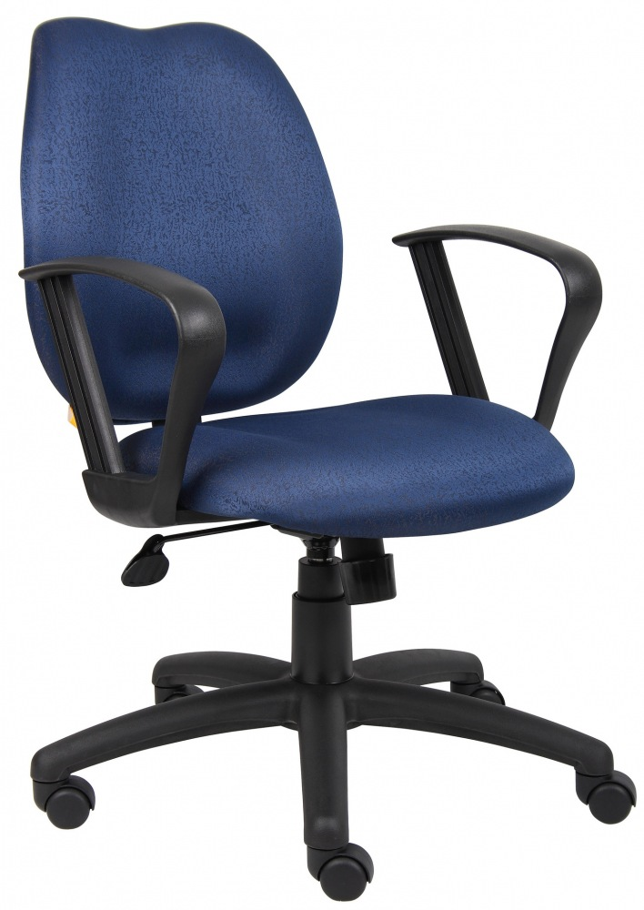 "Boss Blue Task Chair with Loop Arms B1015-BE. Mid-back styling with firm lumbar support. Elegant styling upholstered with commercial grade fabric. Sculptured seat cushion made from molded foam that contours to the shape of your body. Ratchet back height adjustment mechanism which allows perfect positioning of the back cushion and lumbar support. Standard loop arms. Large 27"" nylon base for greater stability. Pneumatic gas lift provides instant height adjustment of the seat. Adjustable…"