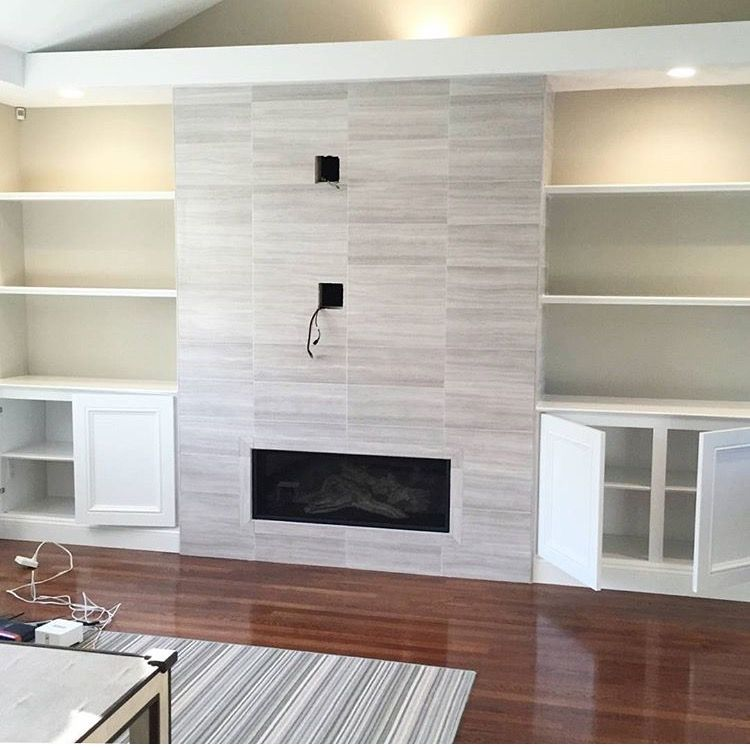 love the idea of this tv fireplace wall with built ins on either rh pinterest com