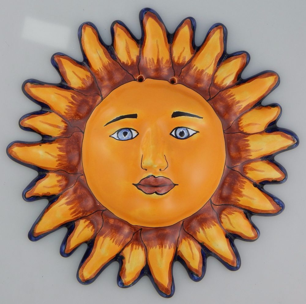 Mexican Talavera Ceramic Sun Face Wall Decor Hanging Pottery Folk Art 24