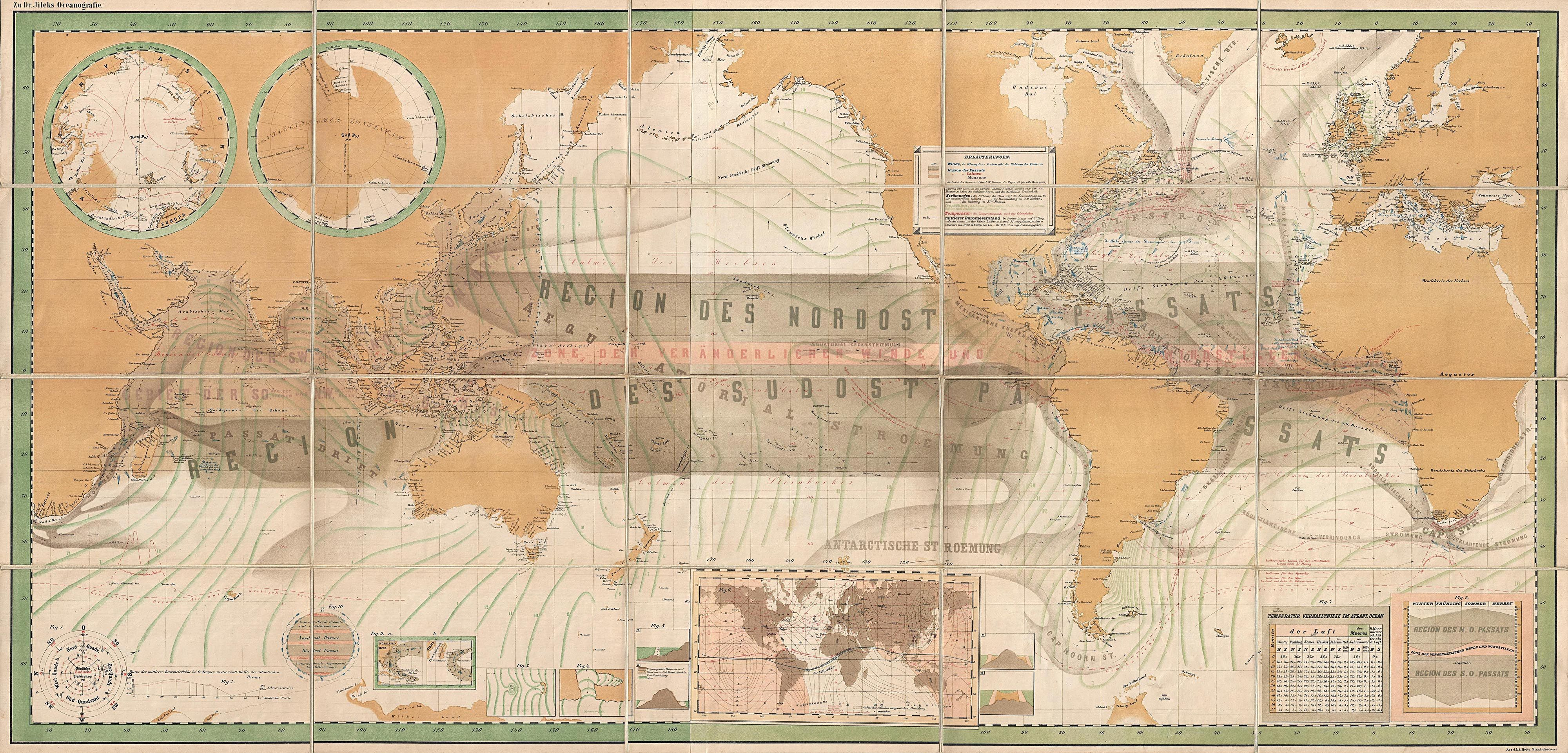 A rare and striking oceanographic world map pinterest artist a rare informative and most attractive oceanographic world map published in vienna and summarizing the state of knowledge in the mid 19th century gumiabroncs Gallery