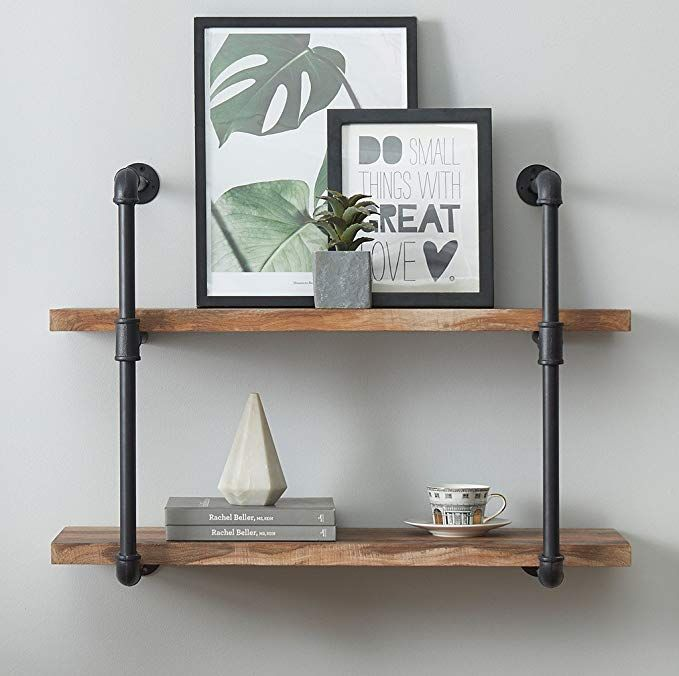 o k furniture 2 tier vintage industrial pipe wall shelf rustic pipe rh pinterest com