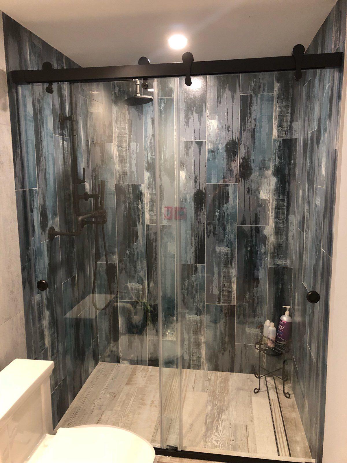 Barndoor Style Bypass Sliding Shower Door Oil Rubbed Bronze