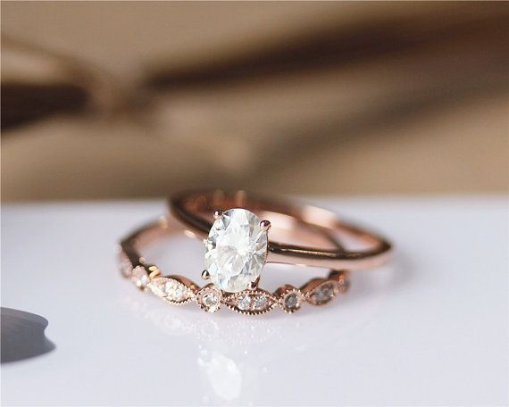 1ct Oval Cut Brilliant Moissanite Engagement Ring Set Solid 14k Rose