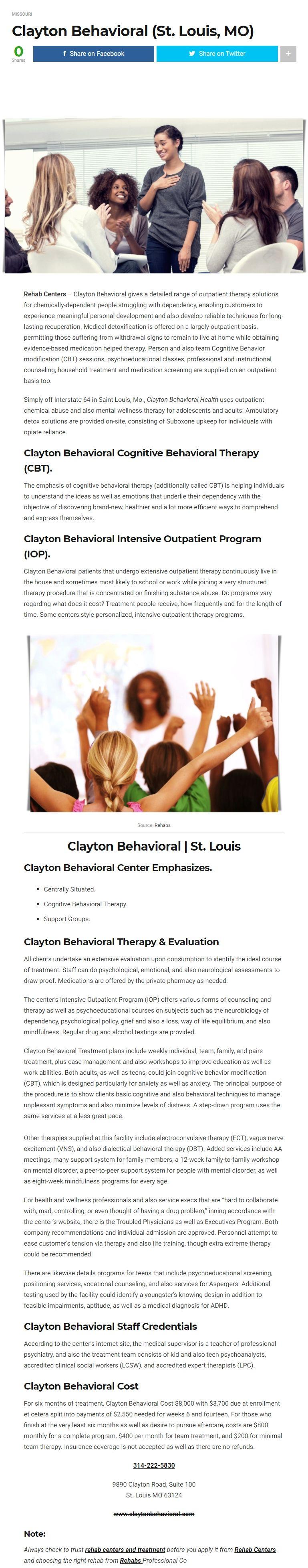 Clayton behavioral gives a detailed range of outpatient