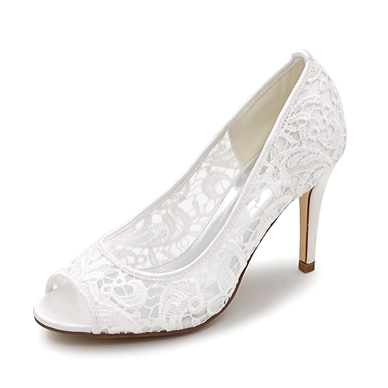 bba97cbe850a1 Creativesugar open toe lace bridal wedding shoes , 3 inches heel ...