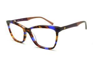 Óculos Ana Hickmann HI6013 efeito estampa preto caramelo e azul royal com  haste vinho marrom flexível de mola 92322c817e
