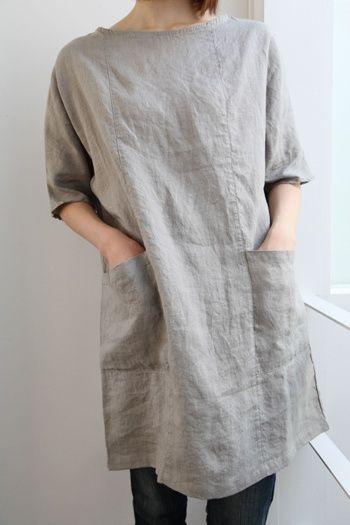 Linen tunic dress | 튜닉 드레스, 멋진 옷, Diy 옷