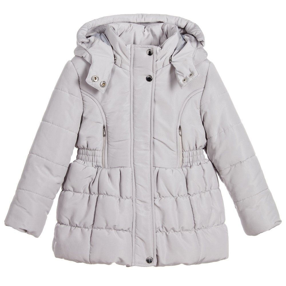 Mayoral Girls Silver Grey Padded Coat with Fur Trim at Childrensalon ... 1239da91d