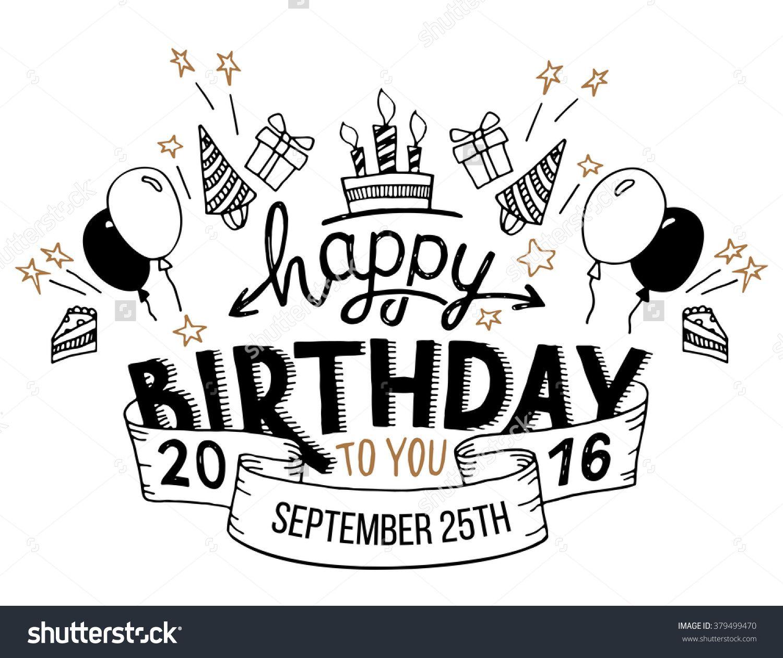 Happy Birthday To You Hand Drawn Typography Headline For