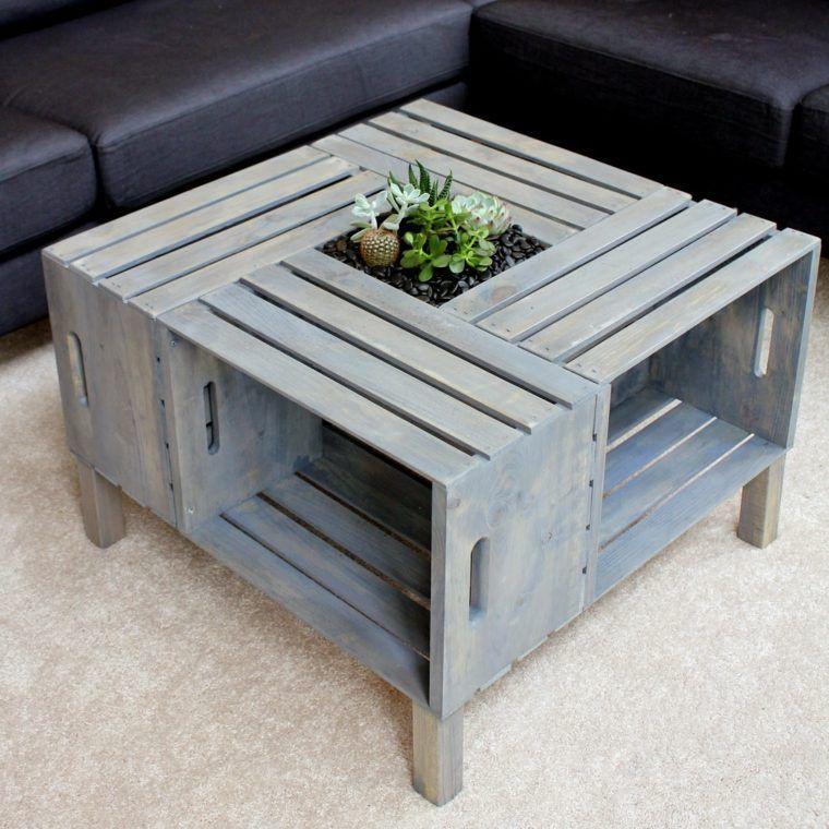 table basse palette avec espaces de rangement - Table De Salon En Bois De Palette