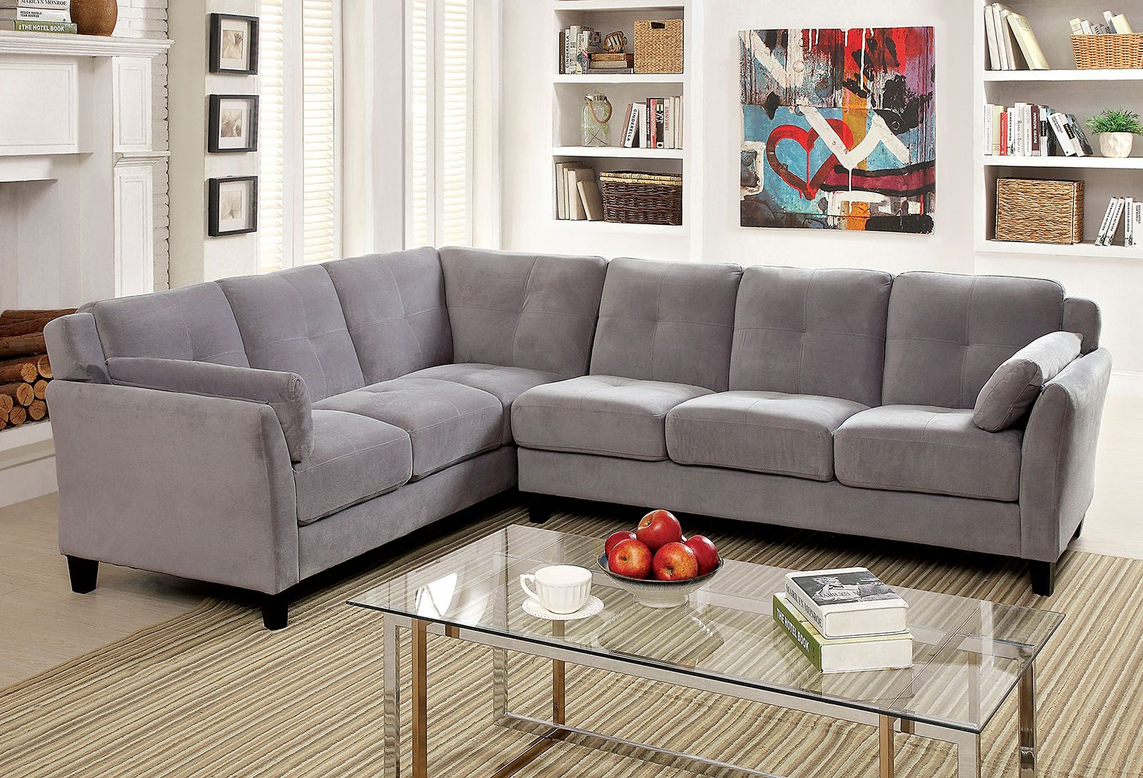 Living Room Furniture San Diego 6368gy Gray Contemporary Sectional Sofa Furniture Of America