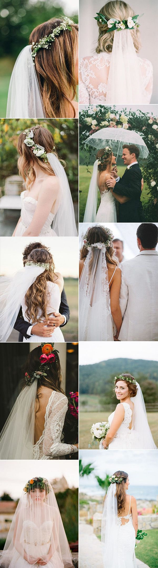 top 10 wedding hairstyles with flower crown veil for 2018 | someday