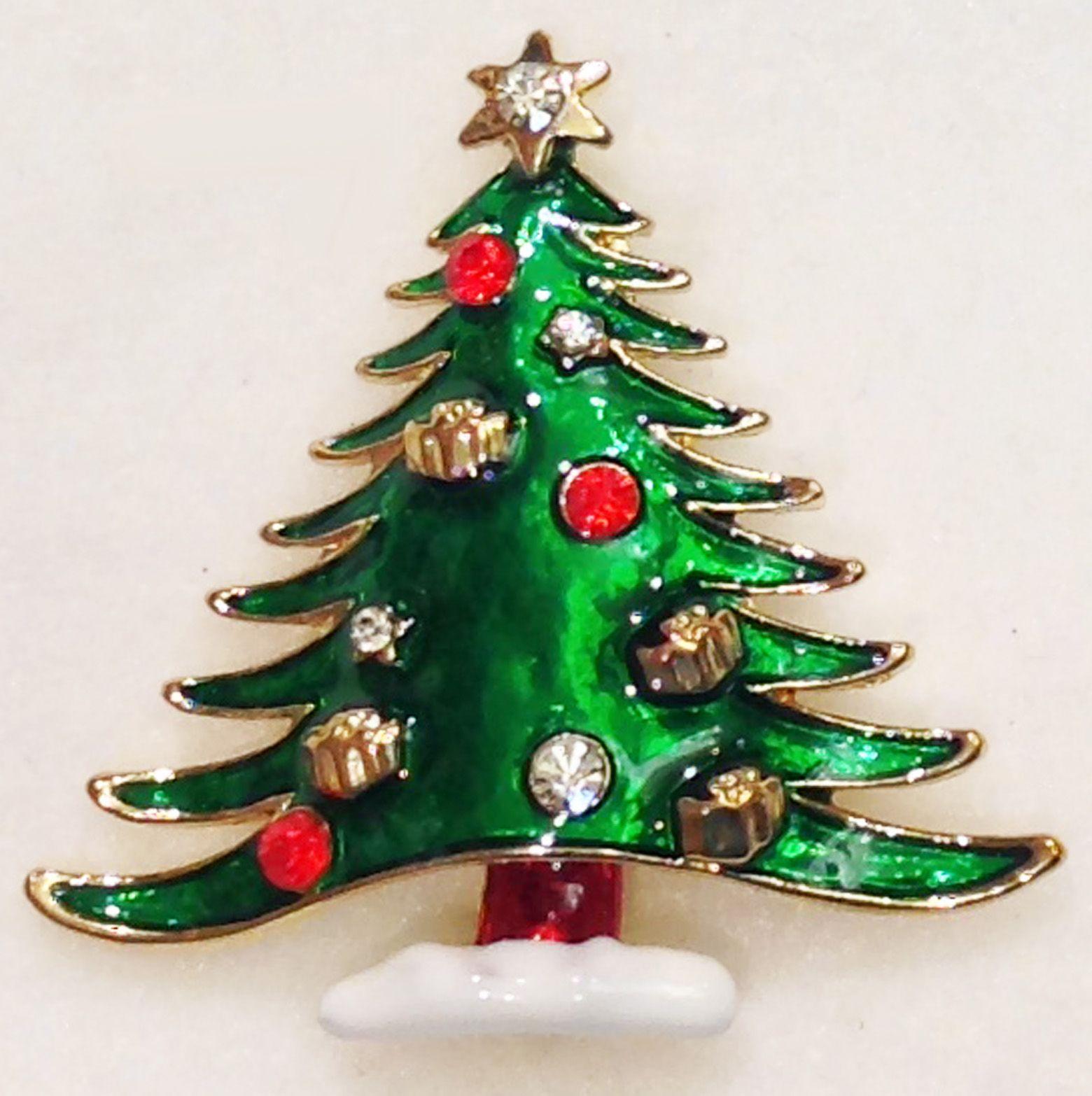Christmas Tree Pin Rhinestone Enamel Gift Ornaments On Tree