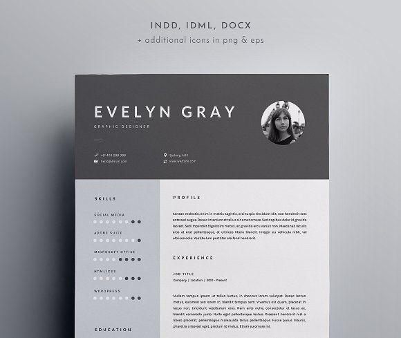 3 Page Resume Template INDD + DOCX by BlackDotResumes on