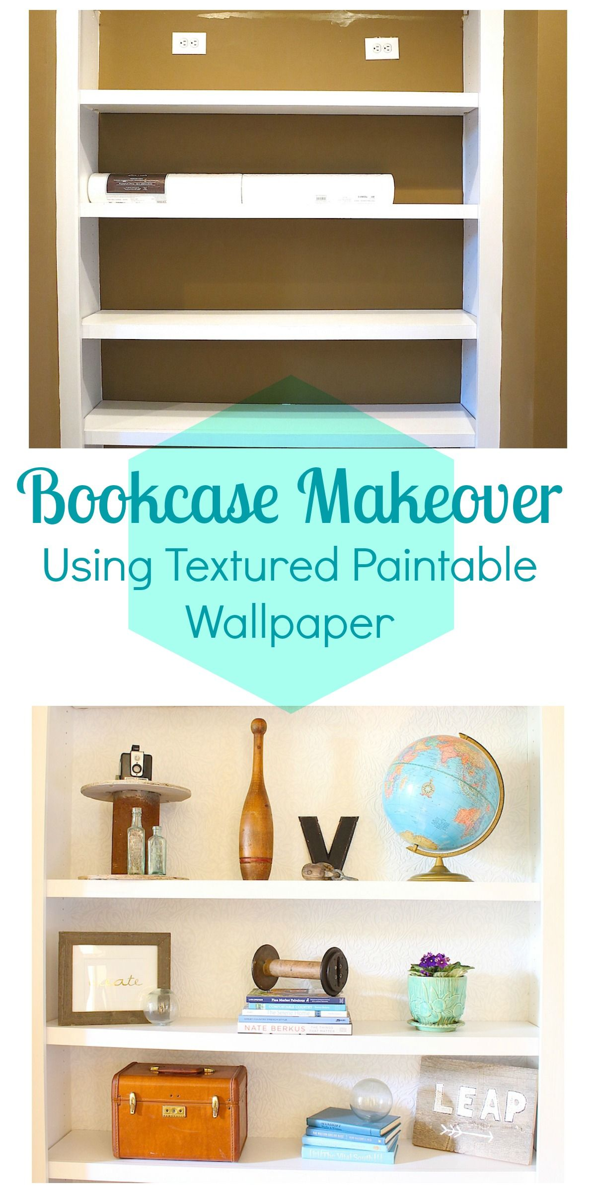 Bookcase Makeover Using Textured Paintable Wallpaper