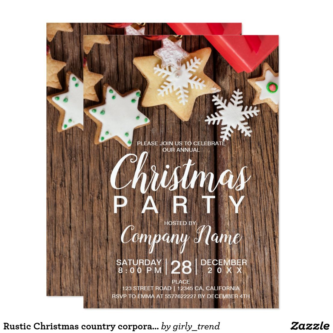 rustic christmas country corporate cookies invitation