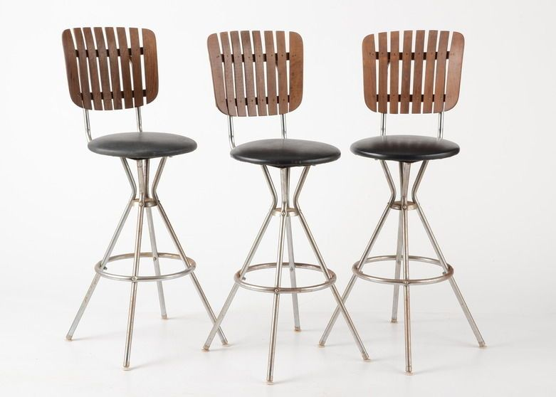Three Swivel Bar Stools With Wooden Slat Backs