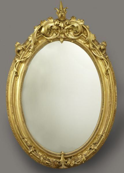 Antique French Oval Gilt Wood Mirror Wood Framed Mirror