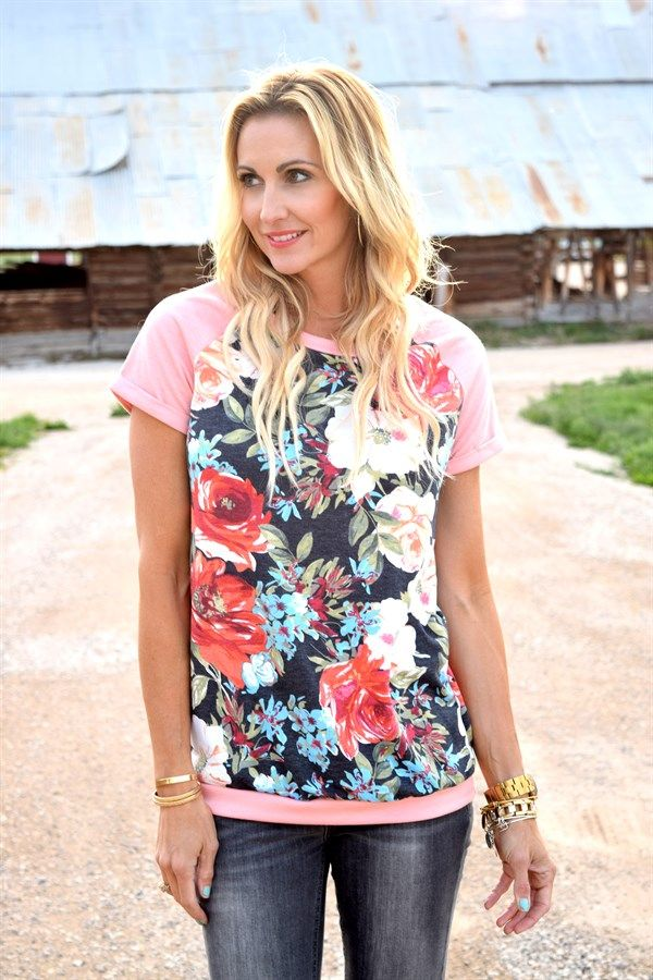 French Terry Floral Top!