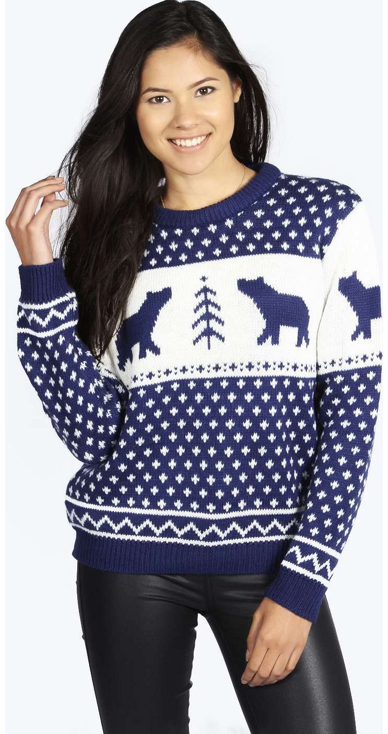 boohoo Penny Polar Bear Jumper - navy azz14638 Knitwear gets knock-out this season with pretty pastel palettes - crop jumpers come in candy colours and shawls in sherbet shades. Wear cardigans and jumpers oversized and vintage-inspired with distre http://www.comparestoreprices.co.uk/womens-clothes/boohoo-penny-polar-bear-jumper--navy-azz14638.asp