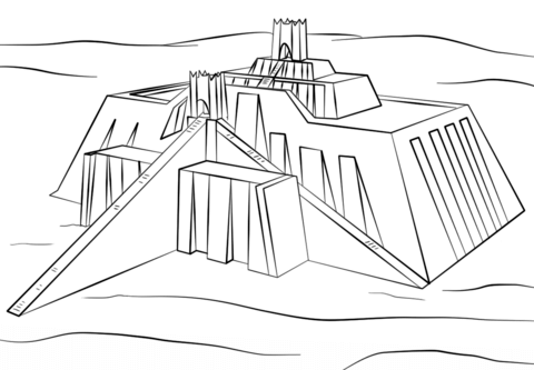 Ziggurat of Ur coloring page from History category. Select